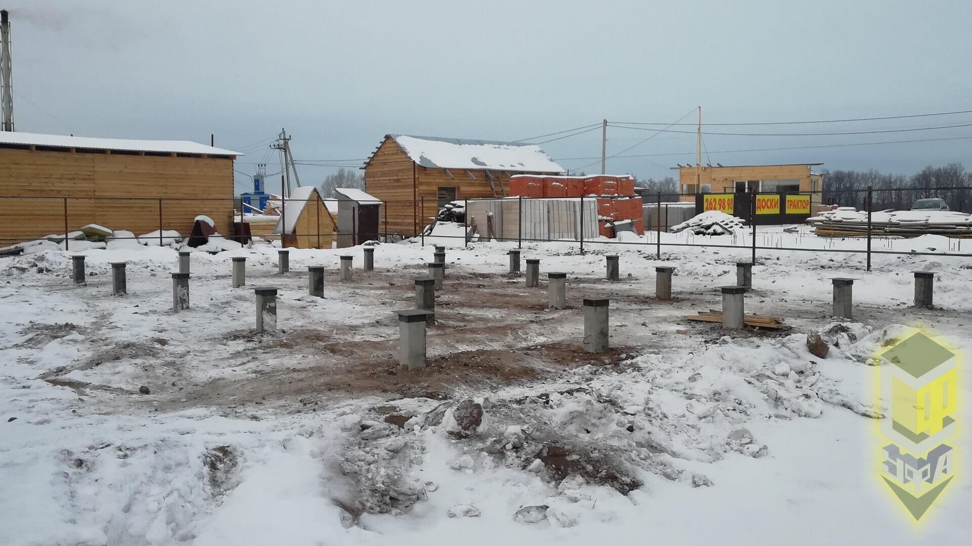 Свайный фундамент для дома 8 на 11 в мкр. 8 марта