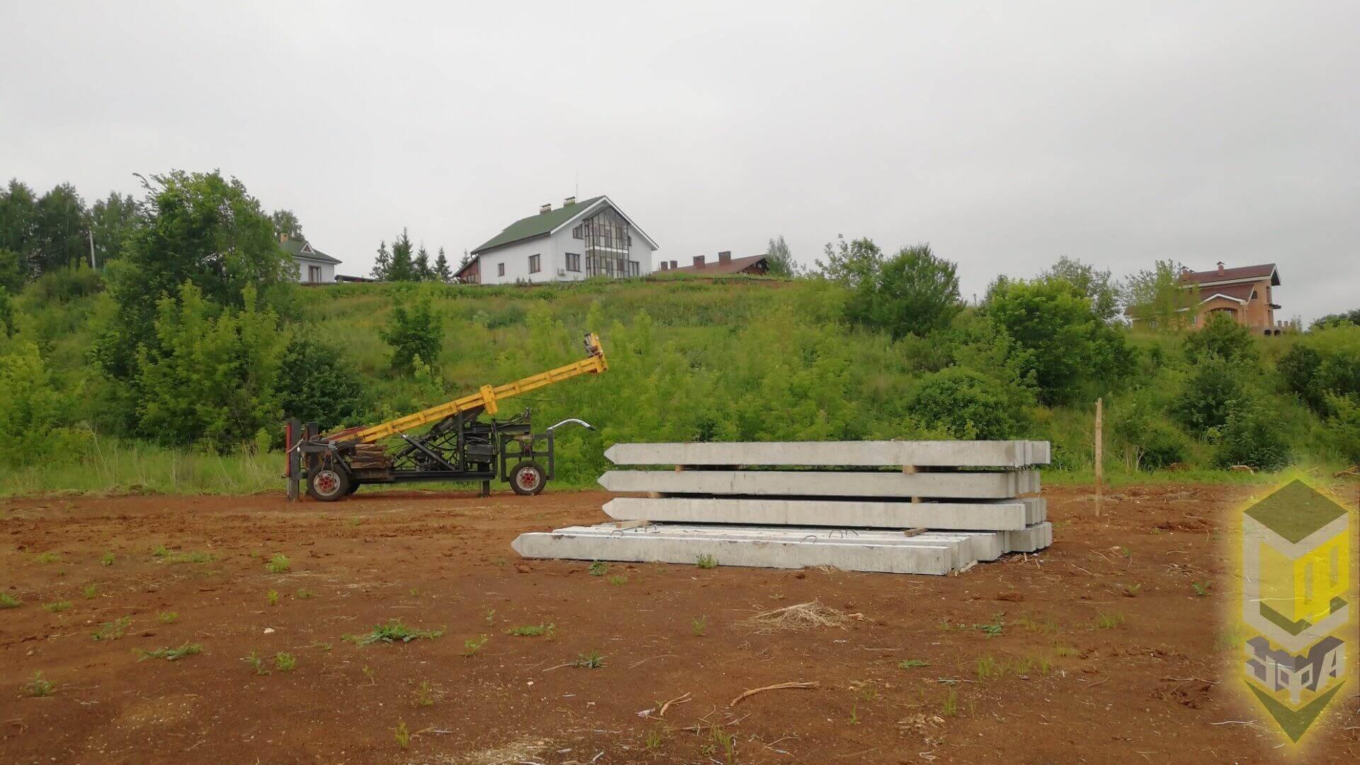 Свайный фундамент для дома, гаража и бани д. Осоргино