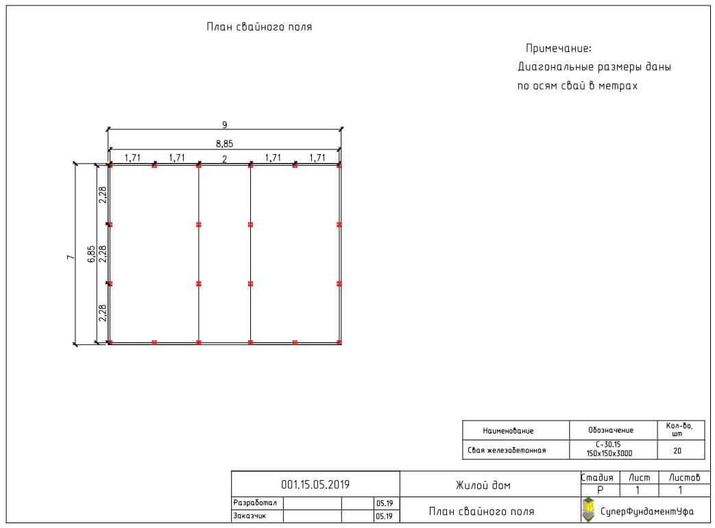 Проект свайного фундамента для дома 7 на 9 в мкр. Дема