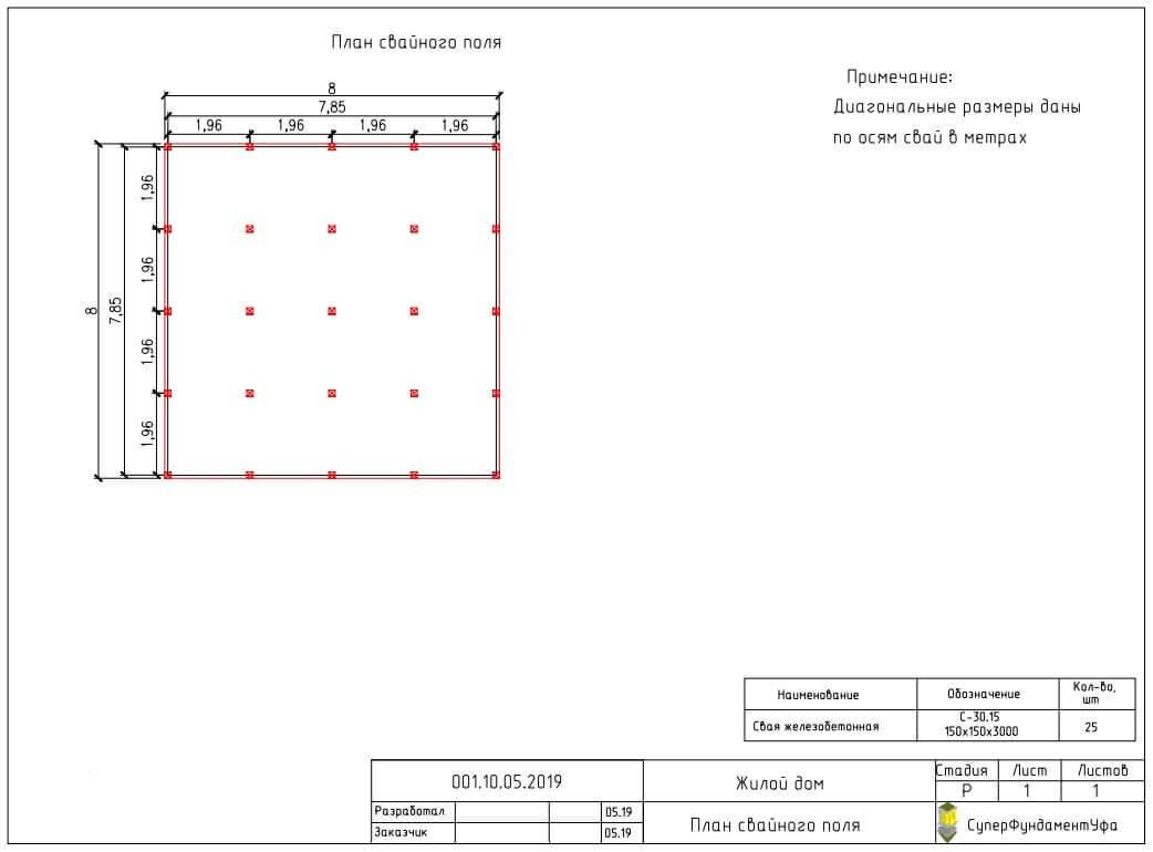 Проект свайного фундамента для дома 8 на 8 в п. Иглино