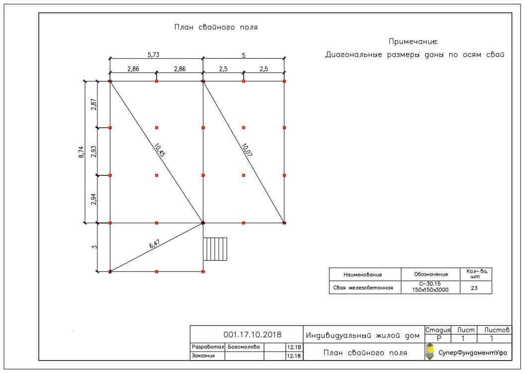 Проект свайного фундамента для дома 9 на 9 в д. Карпово