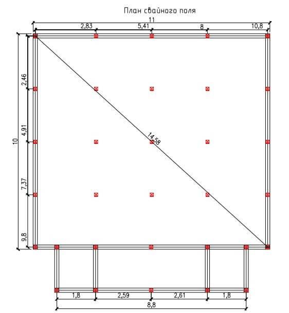 Проект свайного фундамента для дома 10 на 11 в с. Михайловка