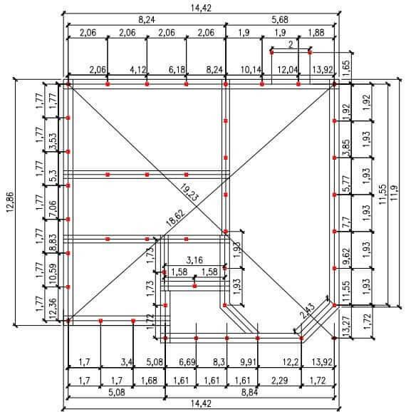 Проект свайного фундамента для дома 15 на 13 в п. Нагаево